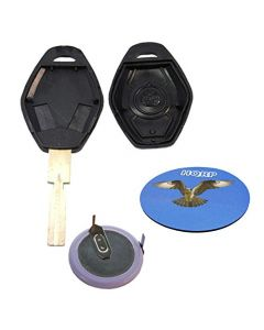 HQRP Kit Transmitter and Battery for BMW 5-Series E39 E60 E61 02 03 04 05 06 2002 2003 2004 2005 2006 Key-Fob Remote Shell Case Cover Smart Key Keyless FOB + Coaster