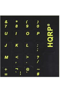 HQRP United Kingdom United States Laminated Keyboard Stickers for All PC & Laptops with Yellow Lettering on Black Background