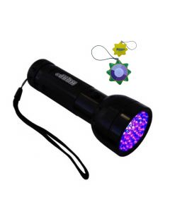 HQRP 51 LED Ultraviolet Blacklight Flashlight for Night Club and Bar Security, Invisible Fluorescent Inks Detection + HQRP UV Meter