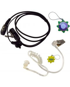 HQRP 2 Pin Acoustic Tube Earpiece Headset Mic Works with ICOM IC-2GXE IC-2GXE(T) IC-2GXET IC-2iA + HQRP UV Meter