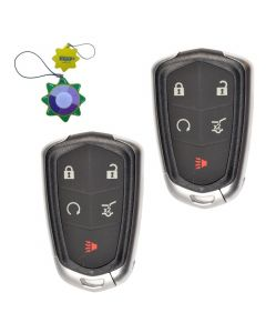 HQRP 2-Pack Remote Key Fob Shell Case Keyless Entry w 5 Buttons for Cadillac ATS 2014 2015 2016 2017 SRX 2015 2016 plus HQRP UV Meter
