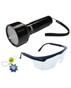 HQRP Ultraviolet Blacklight Flashlight 395 nm for Leak Detection, Testing fluorescent inks / dyes, Adhesive curing plus UV Safety Glasses + HQRP UV Meter