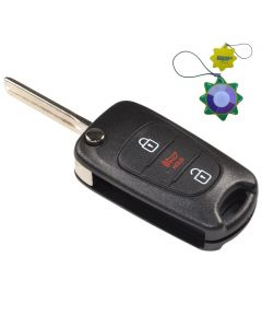 HQRP Remote Flip Folding Key Fob Shell Case Keyless Entry w/ 3 Buttons for Kia Soul 2010 2011 2012 2013 plus HQRP UV Meter
