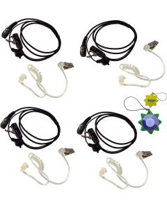 4X HQRP 2 Pin Acoustic Tube Earpiece Headsets Mic Works with ICOM IC-2iE IC-2N IC-2SA IC-2SA(T) IC-2SAT + HQRP UV Meter