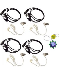 4X HQRP 2 Pin Acoustic Tube Earpiece Headsets Mic Works with ICOM IC-2GE IC-2GXA IC-2GXA(T) IC-2GXAT + HQRP UV Meter