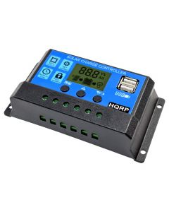 HQRP 20A Solar Battery Charge Controller / Power Regulator 20 Amp 12V / 24V w/ Dual USB and LCD Display plus HQRP UV Meter