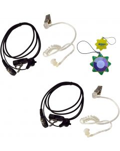 2X HQRP 2 Pin Acoustic Tube Earpiece Headsets Mic Compatible with ICOM IC-4SAT IC-4SE IC-4SE(T) IC-4SET IC-80AD + HQRP UV Meter
