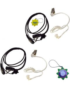 2X HQRP 2 Pin Acoustic Tube Earpiece Headsets Mic Compatible with ICOM IC-2GXE IC-2GXE(T) IC-2GXET IC-2iA + HQRP UV Meter