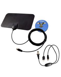 HQRP HDTV Amplified 4K 1080p 35-50 miles antenna for Samsung UN32J400, UN32J4000, UN32J4001, UN40H5003, UN43J5000, UN43J5200, UN43J5202A, UN43KU6300, UN43M5300, UN43MU6290, UN43MU6300 + HQRP Coaster