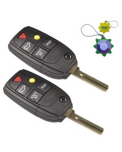 HQRP 2-Pack Remote Flip Folding Key Fob Shell Case Keyless Entry w/ 5 Buttons for Volvo S80 2004 2005 2006 plus HQRP UV Meter