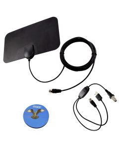 HQRP HDTV Amplified 4K 1080p 35-50 miles antenna for Samsung UN43MU630DFXZA, UN43MU6300FXZA, UN43NU7100, UN48J5200, UN50MU6070FXZA, UN55D6000, UN55ES6100, UN55J620DAFXZA, UN55J6200 + HQRP Coaster