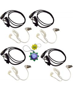 4X HQRP 2 Pin Acoustic Tube Earpiece Headsets Mic Works with ICOM IC-2GXE IC-2GXE(T) IC-2GXET IC-2iA + HQRP UV Meter
