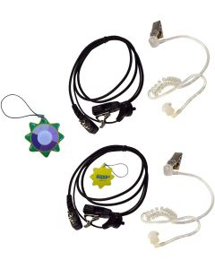 2X HQRP 2 Pin Acoustic Tube Earpiece Headsets Mic Compatible with ICOM IC-2iE IC-2N IC-2SA IC-2SA(T) IC-2SAT + HQRP UV Meter