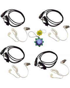 4X HQRP 2 Pin Acoustic Tube Earpiece Headsets Mic Compatible with ICOM IC-4SAT IC-4SE IC-4SE(T) IC-4SET IC-80AD + HQRP UV Meter