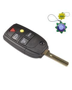 HQRP Remote Flip Folding Key Fob Shell Case Keyless Entry w/ 5 Buttons for Volvo V70 2004 2005 2006 2007 plus HQRP UV Meter