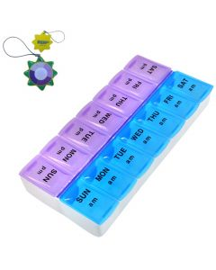 HQRP Weekly Pill Organizer / Twice-a-Day Pill Case plus HQRP UV Meter