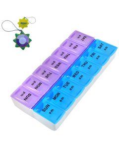 HQRP Weekly Pill Organizer Twice-a-Day Pill Case plus HQRP UV Meter