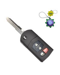 HQRP Remote Flip Folding Key Fob Shell Case Keyless Entry w/ 4 Buttons for Mazda RX-8 2004 2005 2006 2007 2008 2009 2010 2011 plus HQRP UV Meter
