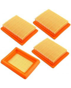 HQRP 4-pack Air Filter Element compatible with Husqvarna 521642101 521 64 21-01 fits Husqvarna 243R 243RJ 253R 253RB 253RJ 543RS 553RBX 553RS String Trimmer plus HQRP UV Meter