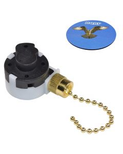 HQRP Ceiling Fan Pull Chain 3-Speed 4-Wire Control Switch for Westinghouse Ceiling Fan, Function L-1-2-3, L-2-3, L-1-3, L-1-2 + HQRP Coaster