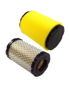 HQRP 2-pack Air Filter Kit compatible with John Deere MIU13038 MIU13963 MIU14395 GY21435 fits LA135 D140 D130 D125 D110 D105 D100 Z225 Z235 Z255 X124 X125 Riding Mower Lawn Tractor plus HQRP UV Meter