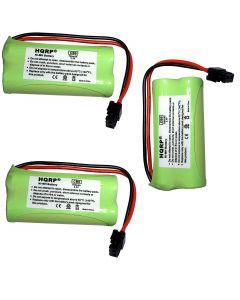 HQRP 3-Pack Battery for Uniden BT-1021 BT1021 BT-1016 BT1016 BT-1025 BT1025 BBTG0734001-1 DCX309 BT-1002 BT1002 BT-1008 BT1008 BBTG0645001 BBTG0609001 DECT2085 DECT2085-2 Cordless Phone + Coaster