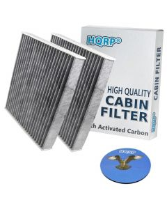 HQRP 2-Pack Carbon A/C Cabin Air Filter for Lexus LX570 2008-2015 ; RX350 RX450h 2010-2015 ; IS250 IS350 ISC IS-F 2006-2013 plus HQRP Coaster