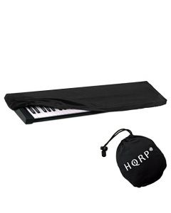 HQRP Elastic Dust Cover w/ Bag (Black) for Korg Havian 30 / Krome / Kronos X / KROSS88BK / Triton Extreme Electronic Keyboard Digital Piano + HQRP Coaster