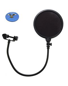 "HQRP 7.5"" Studio Mic Microphone Wind Screen Pop Filter Mask Shield Stand Clip w/ Swivel Mount, 360° Flexible Gooseneck Holder plus HQRP Coaster"