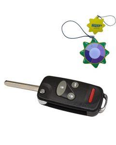 HQRP Uncut Remote Flip Folding Key Fob Shell Case Keyless Entry Modify w/ 4 / 3+1 Buttons for Honda Civic 1996 1997 1998 96 97 98 plus HQRP UV Meter