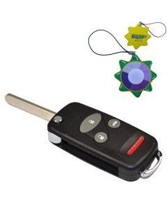HQRP Uncut Remote Flip Folding Key Fob Shell Case Keyless Entry Modify w/ 4 / 3+1 Buttons for Honda Insight 2000 2001 2002 2003 2004 2005 2006 00 01 02 03 04 05 06 plus HQRP UV Meter