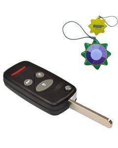 HQRP Uncut Remote Flip Folding Key Fob Shell Case Keyless Entry Modify w/ 4 / 3+1 Buttons for Honda Odyssey 1996 1997 1998 1999 2000 2001 2002 2003 2004 96 97 98 99 00 01 02 03 04 plus HQRP UV Meter