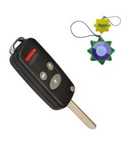 HQRP Uncut Remote Flip Folding Key Fob Shell Case Keyless Entry Modify w/ 4 / 3+1 Buttons for Honda 2000 2001 2002 2003 00 01 02 03 plus HQRP UV Meter
