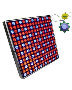 "HQRP Advanced 45W Square 12"" 225 LED Grow Light Panel Lamp Blue & Red with Hanging Kit + HQRP UV Meter"