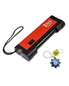 HQRP 2 in 1 Handheld 365nm Blacklight UV Detector / LED Flashlight for Document Forgery Analysis, Currency / Bill Verification plus HQRP UV Meter