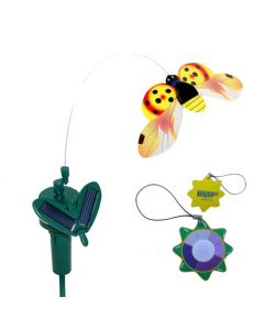 HQRP Solar Powered Flying Ladybug Ladybird Yellow for Garden Plants Flowers Patio Landscape Outside Decor + HQRP UV Tester