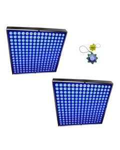 "HQRP High-Power 90W Blue 450 LED Grow Light Panels / Lamps 2pcs 12"" x 12"" plus Hanging Kit + HQRP UV Meter"