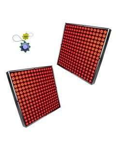 """HQRP Two 12"""" x 12"""" Square High-Power 90W 450 LED Red Grow Light System / Panels plus Hanging Kit + HQRP UV Meter"""