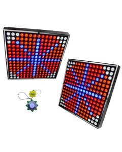 """HQRP 90W Multicolor 2x 12"""" Square 450 LED Grow Light Systems / Panels with Hanging Kit ( Blue Red Orange White) + HQRP UV Meter"""