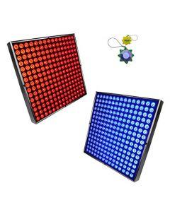 "HQRP High-Power 90W 450 LED Blue + Red Grow Light Panels / 2pcs 12"" x 12"" Lamps plus Hanging Kit + HQRP UV Meter"