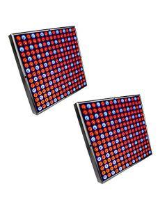 "HQRP 90W 450 Red & Blue LED Light Panels (2x 12"" Square Lamps) for Growing Indoor Plants, Flowers, Fruits, Vegetables plus Hanging Kit + HQRP UV Meter"