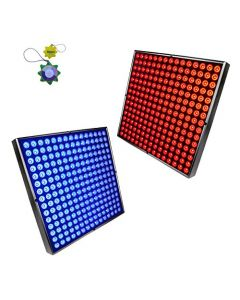 HQRP Blue + Red 450 LED Grow Light Panels / 2x Square Lamps 90W for Growing Indoor Flowers, Plants, Fruits, Vegetables plus Hanging Kit + HQRP UV Meter