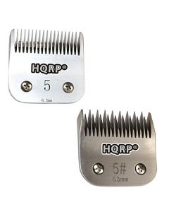 "HQRP Kit: Animal Clipper Blades 2pcs - Size 5 / 5FC - for Dog Grooming Hair Cutting, Body Sides / Back Clipping, 1/4"" 6.3mm + HQRP Coaster"