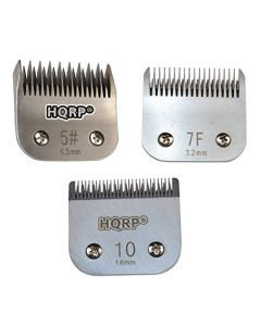HQRP 3pcs Kit: Pet Clipper Blades for Cocker Spaniel / Schnauzer / Lakeland Terrier etc. Grooming Hair Cutting Clipping Trimming, Sizes 5 / 7F /10 + HQRP Coaster