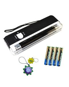 HQRP UV Blacklight Fluorescent Tube 2 in 1 365nm for Counterfeit Detection, Document Forgery Analysis, Money Currency Bill Checking plus 4xAA Batteries + HQRP UV Meter