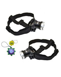 HQRP 2-pack Rechargeable UV Headlamp LED 390-395 nm, 3 Modes Headlight, Built-in Battery Powered, Zoomable, AC Adapter Included + HQRP UV Meter