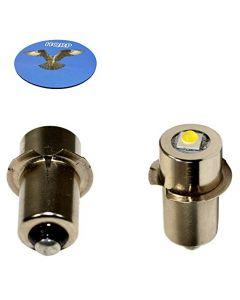 HQRP 2-Pack LED Upgrade Bulb for Bosch 2609200306 2610924979 2610920841 2610951871 CFL180 FL10A FL11A FL11 Flashlight, 100LM 7-30V + HQRP Coaster