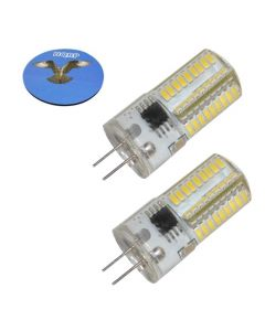 HQRP 2-Pack G4 Bi-Pin 72 LEDs Light Bulb SMD 3014 Cool White for Microwave oven, Puck, Refrigerator, Under-cabinet Lights, Reading Crystal Light plus HQRP Coaster