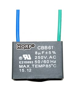 HQRP Ceiling Fan Capacitor CBB61 8uf 2-Wire plus HQRP Coaster