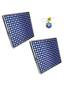 "HQRP 90W White & Blue 450 LED Grow Light Panels / 2pcs 12"" Square Lamps plus Hanging Kit + HQRP UV Meter"